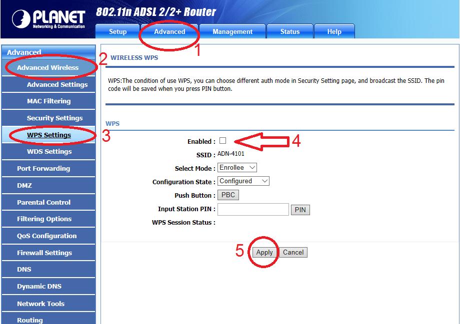 آموزش کانفیگ مودم پلنت صفحه تنظیمات wps