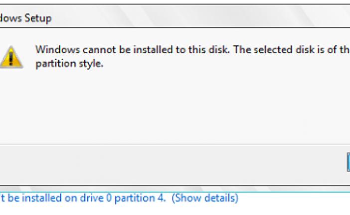 مشکل نصب نشدن ویندوز و اخطار GPT و MBR